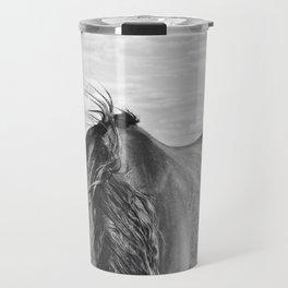 Horse Back in Black and White Travel Mug