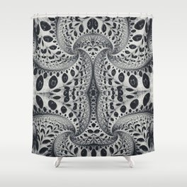 Wild Fiber III. Black and White Abstract Art Shower Curtain