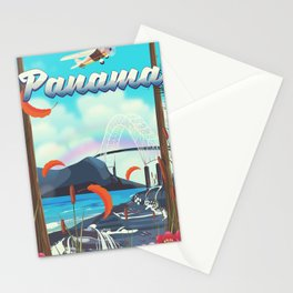 Panama flight travel poster. Stationery Cards