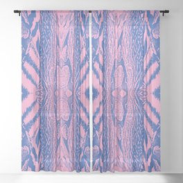 Abstract Wildlife Animal Pattern Study Pink Blue Sheer Curtain