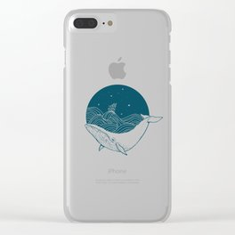 Minimalist Sperm Whale Art - Geometric Ocean Artwork - Boat Clear iPhone Case