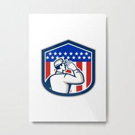 American Soldier Saluting Flag Shield Metal Print