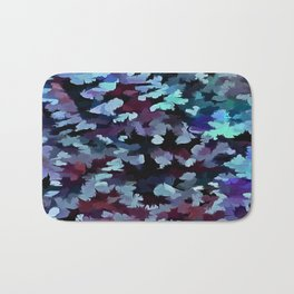 Foliage Abstract Camouflage In Aqua Blue and Black Bath Mat