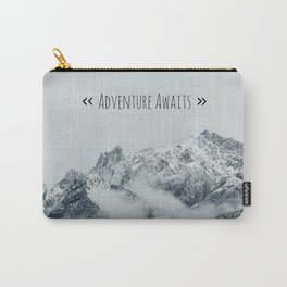 Adventure Awaits - Mountain landscape photo, photography quote, mountain climbing Carry-All Pouch