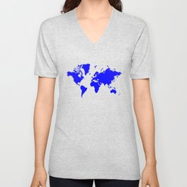 World with no Borders - true blue Unisex V-Neck