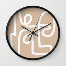 beige squiggle Wall Clock