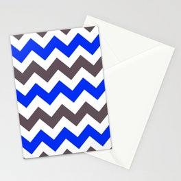 Blue Nebulas and Grey ZigZag Chevron Pattern Stationery Cards