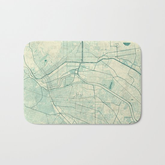 El Paso Map Blue Vintage Bath Mat