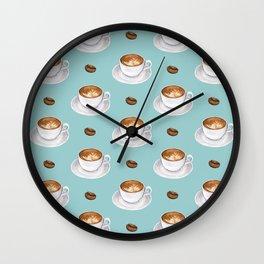 Coffee Cups - mint blue Wall Clock