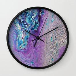 Purple Fluid Acrylic Abstract Painting - Slow Down  III Wall Clock