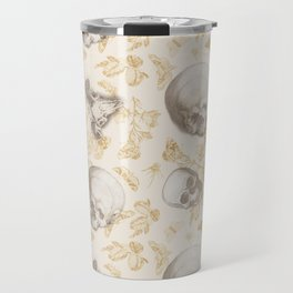 Skulls, Flowers and Butterflies pattern on ivory Travel Mug