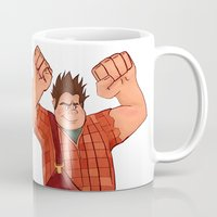 wreck it ralph Mugs featuring I'm Gonna Wreck It! by shaunaoconnor