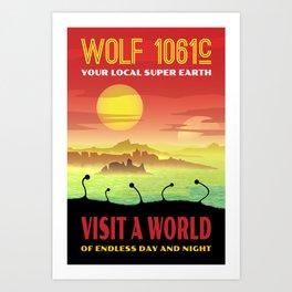 Exoplanet Wolf 1061c Retro Space Travel Illustration Art Print