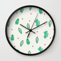 cactus Wall Clocks featuring CACTUS by Ceren Aksu Dikenci
