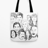 parks and rec Tote Bags featuring Parks and Recreation 'Rec a Sketch' by Moremeknow
