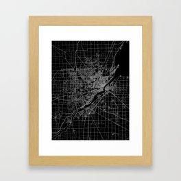 Toledo map ohio Framed Art Print