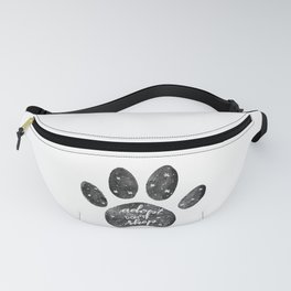 Adopt don't shop galaxy paw - black and white Fanny Pack