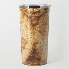 Antique World Map on Wood Travel Mug