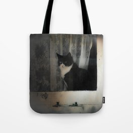 One Cat in the window Tote Bag