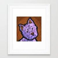 westie Framed Art Prints featuring Purple Westie by Gianna Brucato
