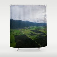 new zealand Shower Curtains featuring New Zealand South Island by Michelle McConnell
