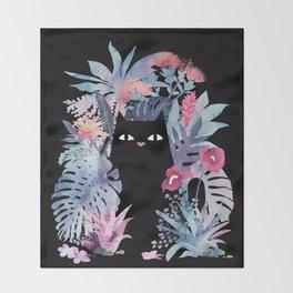 Popoki (Pastel Black Velvet) Throw Blanket