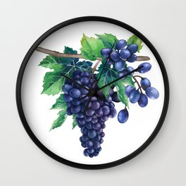 Watrercolor grapes Wall Clock