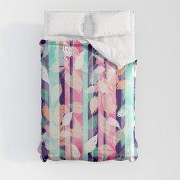 Cute Violet foliage brush paint design Comforters