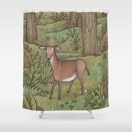 Deer in Woodland Shower Curtain