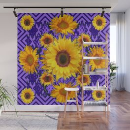 Purple Patterns Yellow Sunflowers Abstract Art Wall Mural