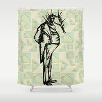 sea horse Shower Curtains featuring Sea Horse Man by Kitsch Cat Press