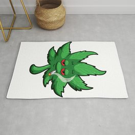 Cannabis Leaf With Red Eyes Smokes Weed - THC CBD Rug