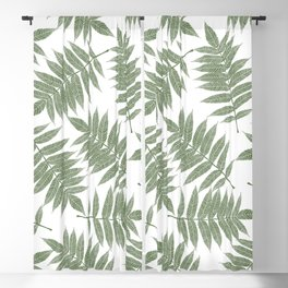 Hand painted forest green tropical leaves pattern Blackout Curtain
