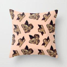 Classical Cherub Toss in Peach Fresco Throw Pillow
