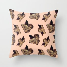 Classical Cherub Toss in Peach Fresco Throw Pillow