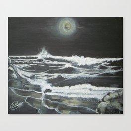 Raging Night Waves Canvas Print