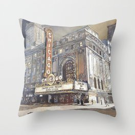 Chicago Theatre painting in downtown Chicago at sunset.  Fine art watercolor painting of Chicago The Throw Pillow