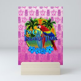 Pink Tiki Island Time Sunset Mini Art Print