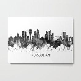 Nur-Sultan Kazakhstan Skyline BW Metal Print