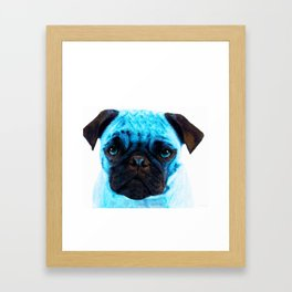 Blue Pug Dog Pop Art by Sharon Cummings Framed Art Print