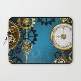 Turquoise Background with Gears ( Steampunk ) Laptop Sleeve