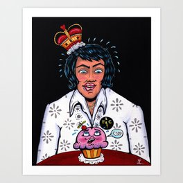 """Elvis Presley """"The King"""" Drooling over a frightened Cupcake Painting or Print Art Print"""