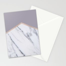 Smokey lilac - rose gold geometric marble Stationery Cards