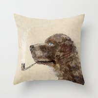 labrador Throw Pillows featuring hello labrador by bri.buckley