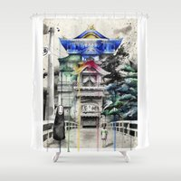 spirited away Shower Curtains featuring Spirited Away by Sandra Ink