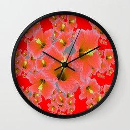 RED MODERN ART CORAL PINK HIBISCUS GARDEN ART Wall Clock