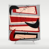 mid century modern Shower Curtains featuring Mid-Century Modern Boomerangs by Kippygirl