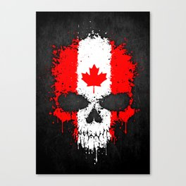 Flag of Canada on a Chaotic Splatter Skull Canvas Print