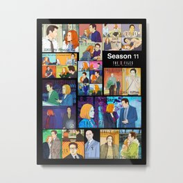 Patchwork of episodes with Mulder and Scully Metal Print