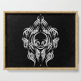 Alien Tribal Tattoo - white Serving Tray